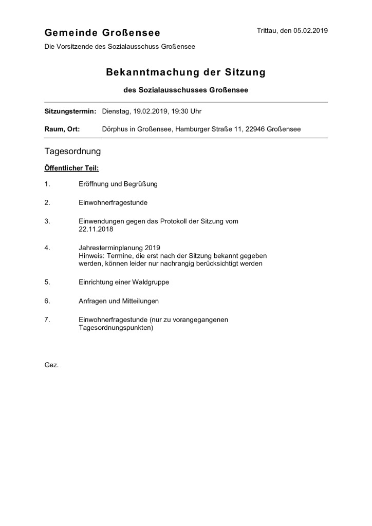 Sozialausschusssitzung @ Dörphus