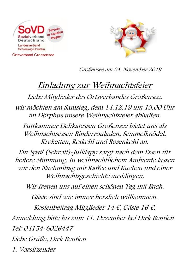 Sozialverband - Weihachtsfeier